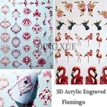 1pc 3D Acrylic Engraved Flamingo Lotus bee Nail Sticker Embossed Rose Flower Water Decals Empaistic Slide DecalsZ0097