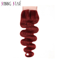 Bold Red 99J Brazilian Body Wave Closure Middle Part 4 4 10 18 Non Remy Shining