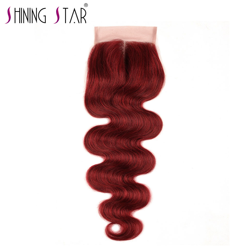Bold Red 99J Brazilian Body Wave Closure Middle Part 4*4 10-18 Non Remy Shining Star 100% Human Hair Extensions Burgundy Weave
