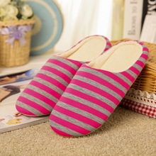 IVI Simple Striped Men Women Soft cotton fabric Indoor Slippers Flat Warm Home Shoes