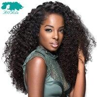 Allrun 18 дюймов кружева фронтальной странный Culry бразильские волос ткань 110 г 100% Кружева Фронтальная человеческих волос парики не Волосы remy нат