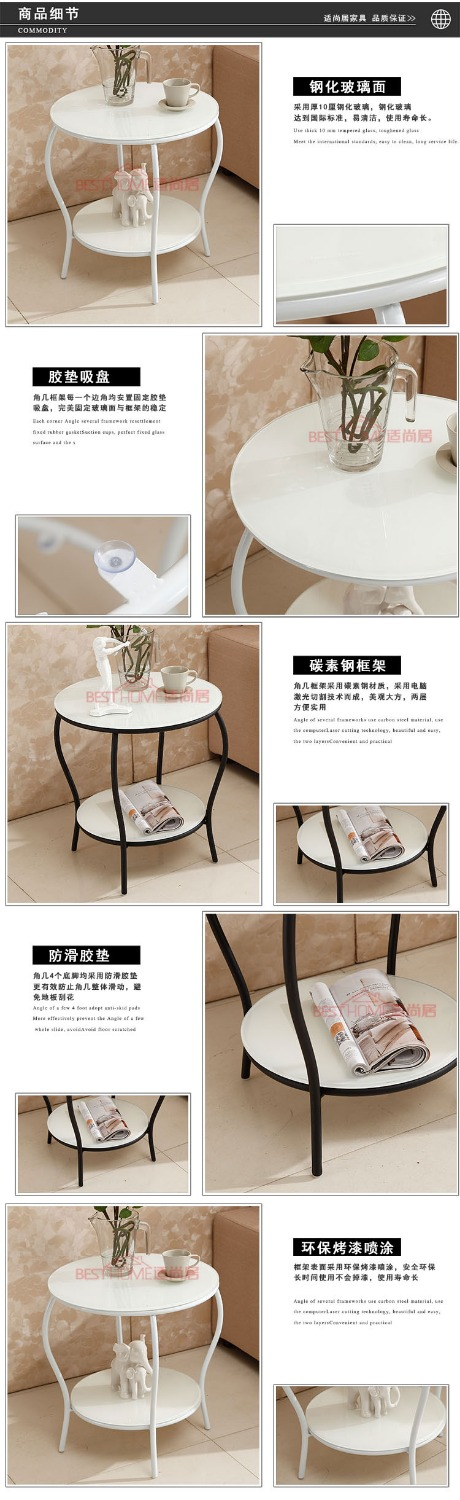 Hardware Double Glazing Rounded Corners Toughened Small Tea Table