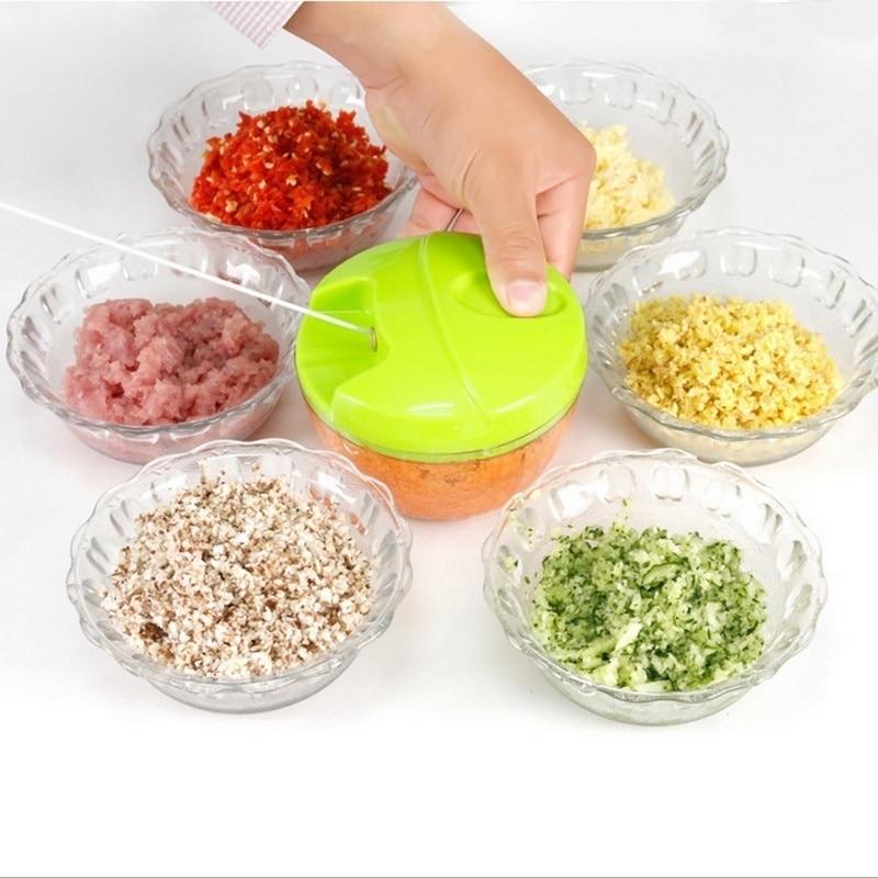 Green Manual Kitchen Spiral Food Slicer Cutter Speedy Dicer Blade Meat Fruit Garlic Ginger Chili Cutter Mixer Salad Crusher