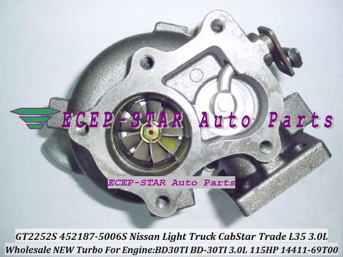 Free Ship GT2252S 452187 452187-5006S 452187-0005 14411-69T00 709693 Turbo For NISSAN CabStar Trade M100 L35 BD30TI BD-30Ti 3.0L