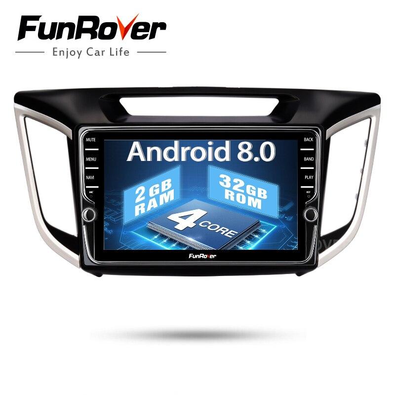 Funrover android 8.0 2 din auto dvd gps-player Für Hyundai IX25 Creta Auto gps navigation raido Multimedia Player band recorder 2G