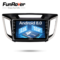 Funrover android 8.0 2 din car dvd gps player For Hyundai IX25 Creta Car gps navigation raido Multimedia Player tape recorder 2G