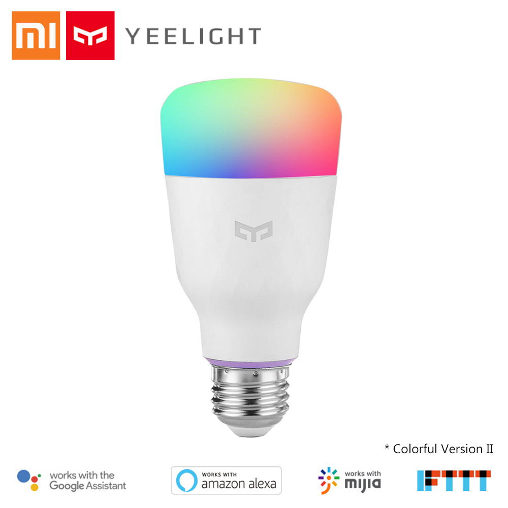Original Xiaomi YEELIGHT 10W RGB Smart Light Bulb E27 Wireless WiFi Control Alexa Google Voice Control IFTTT Mijia Android iOS mini wifi rgb strip light controller with music control and voice control compatible with google home