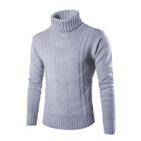 Hot Fashion Men Turtle Neck Long Sleeve Sweaters Casual Autumn New Winter Warm Solid Knitwear Pullovers