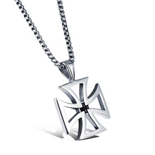 Stainless Steel Cross Pendant Necklaces For Man Classical Punk Style Men 316L Link Chain Jewelry Cool Accessories