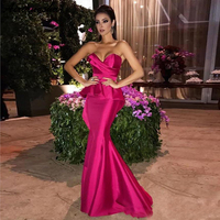 Fuchsia Long 2019 Mermaid Evening Dresses Ruched Sweetheart Formal Dresses Zipper Back Prom Gowns Maid of Honor Dress