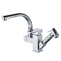 Modern Design Two Glass Handles Polished Brass Bathroom Faucet 2240024