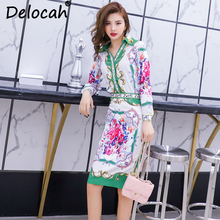 Delocah Women Spring Summer Set Runway Fashion Designer Long Sleeve Gorgeous Beading Slim Shirt+Flower Printed Skirt Two Sets