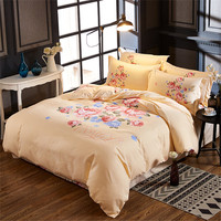 Modern Simple Red Blue peony Flower Nordic Style 4pcs yellow Bedding Sets Bed Sheet Duvet Cover pillowcase queen Size Bedclothes