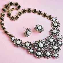 Delicada Flor de La Perla Collares y Pendientes Juegos de Joyería Anti Plateado Cristalino de La Vendimia Noble de La Joyería para Las Mujeres Vestido de Fiesta