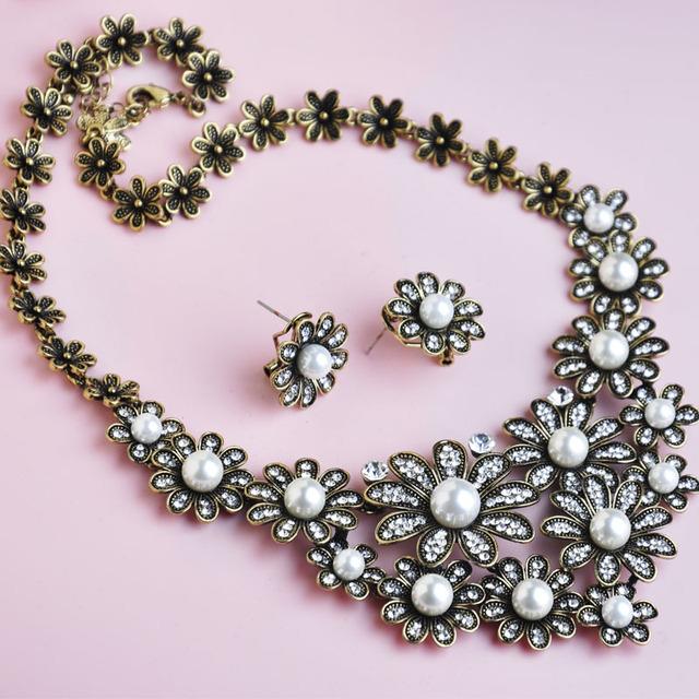 Flor delicada pérola colares brincos conjuntos de jóias Anti banhado a prata cristal jóia nobre do Vintage para mulheres vestido de festa