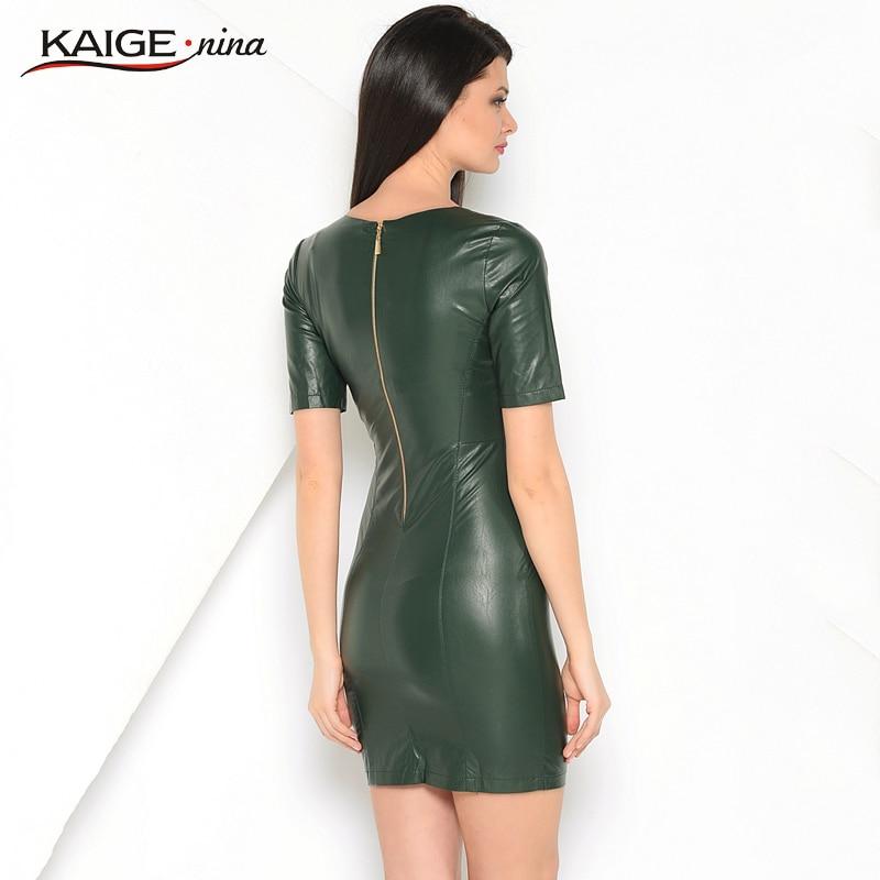 Kaige.Nina Nye Kvinders Vestidos PU Kjole Mode Pure Farve Stil Korte - Dametøj - Foto 4