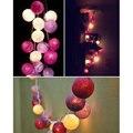 Aladin Luces de la Secuencia de Hadas romántico Púrpura Bola de Algodón Tela Cadena Patio Decoración Guirnalda de La Lámpara de iluminación 110/220 V 20 unids bolas