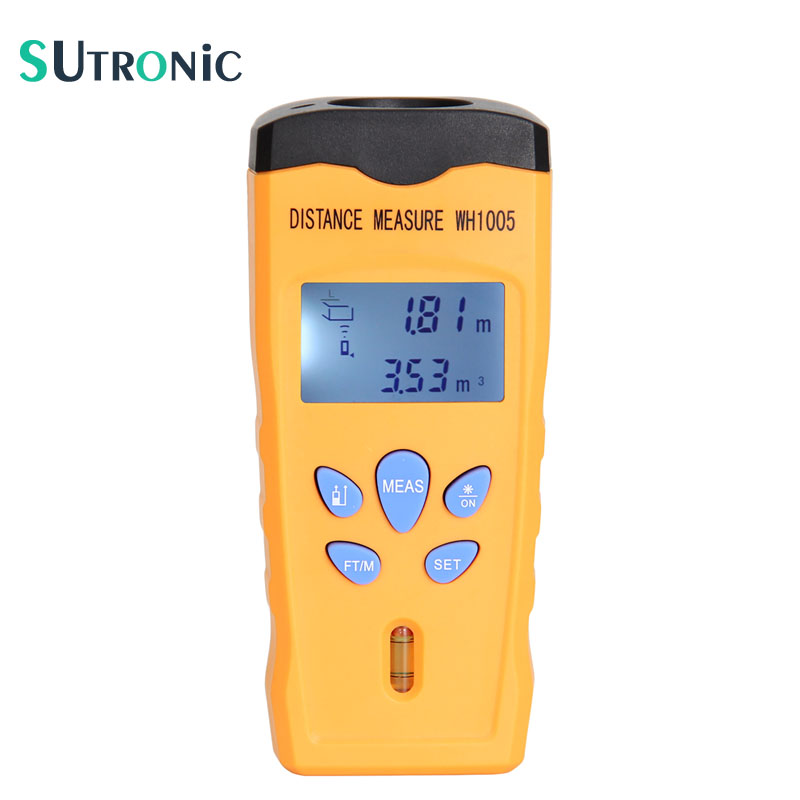 WH1005 Ultrasonic Laser Distance Meter Mini Range Finder Pointer Area Volum Meter Measure Tester Portable 18M Backlight