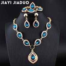 jiayi jiaduo  Wedding jewelry set for women fashion necklace sets Hole blue crystal jewelry Party gift evening dress accessories