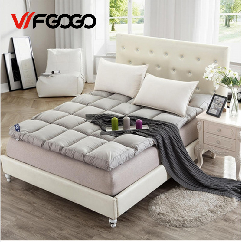 WFGOGO White Duck Down Goose Feather Filler Bed Mat  Cotton  Layers Mattress 10 cm feather mattress double foldable mattress 2016 new arrival 100% white duck down goose feather filler bed mat 100% cotton double layers mattres with different sizes