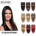 Rechoo Conjunto de Cabello Humano Remy Clip En Extensiones de Cabello 7 Piecese Clip En El Clip En Extensiones de Cabello Natural Cabelo Cheveux Tic Tac