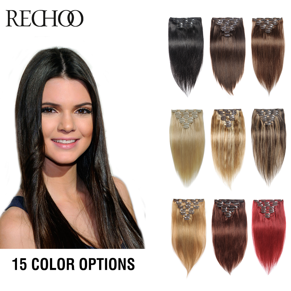 Rechoo Remy Clip In Hair Extensions 7 Piecese Set Human Hair Clip In Cheveux Extensions Clip On Natural Hair Cabelo Tic Tac