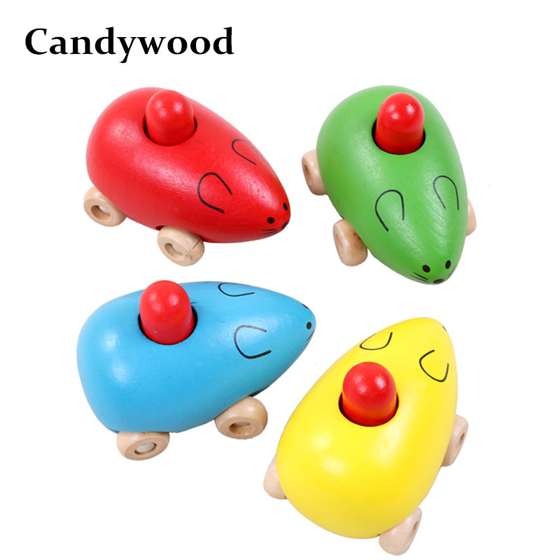 Candywood wooden funny cute Sound Mouse toys for baby kids boy and girl Cat Toys Wood animal High Quality Pet education Toys