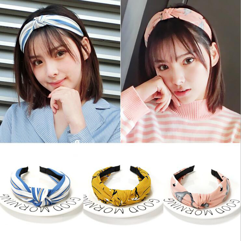 2019 Girls Elastic Hair Bands Top Knot   Headwear   Turban Flower Headbands for Women Hair accessories Bow Head Hoop