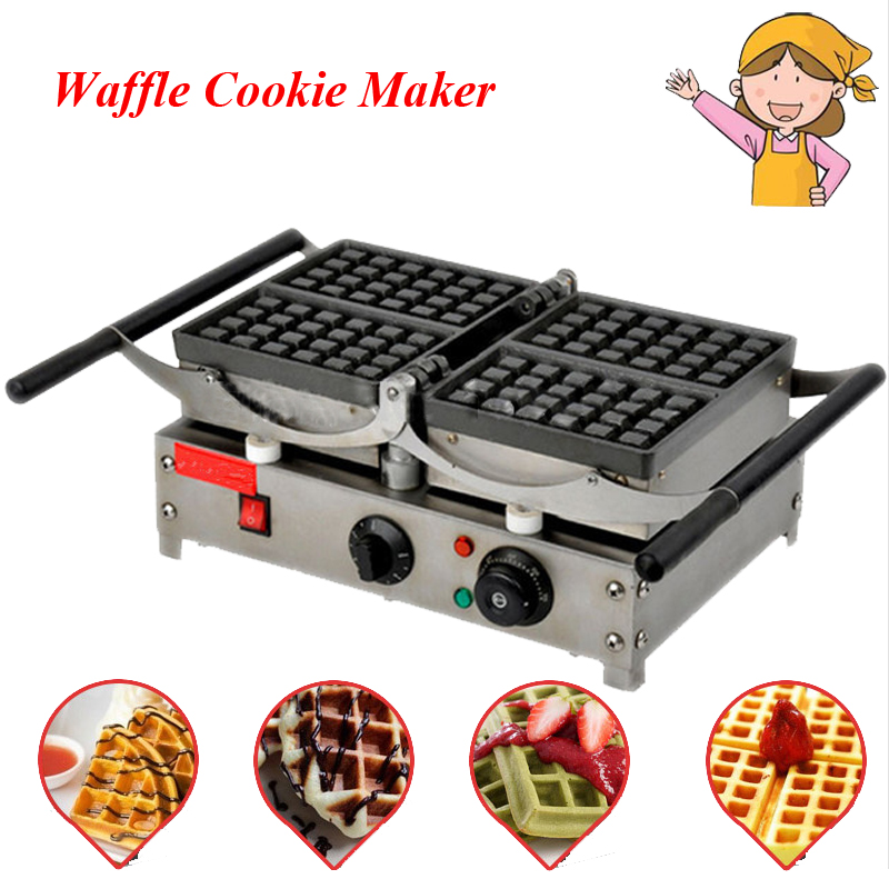 1pc Popular Waffle Cookie Maker Cool Touch Exterior Cake Making Machine with Grilling Press Plates for Restaurant FY-2201