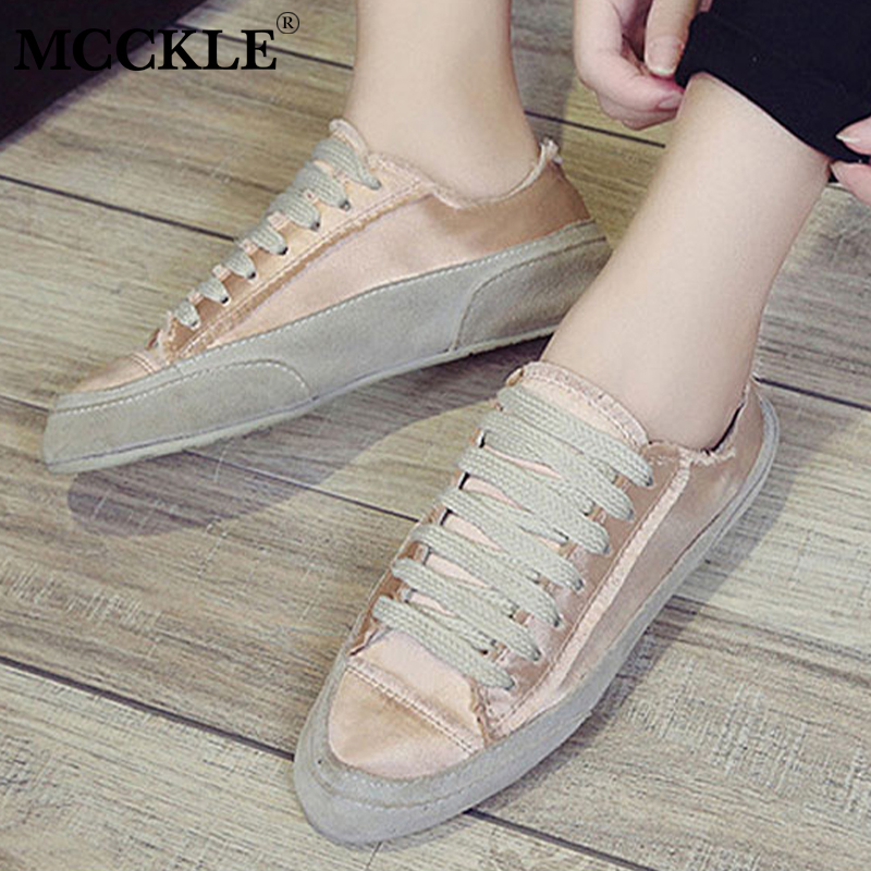 цены MCCKLE Women Casual Flat Sneakers Spring Female Canvas Lace Up Vintage Gloss Vulcanized Shoes Breathable Flats Footwear