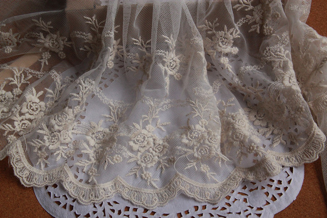 7 yards/lot Beige Rose Gauze Embroidery Lace Trim DIY Craft Garment  Accessories