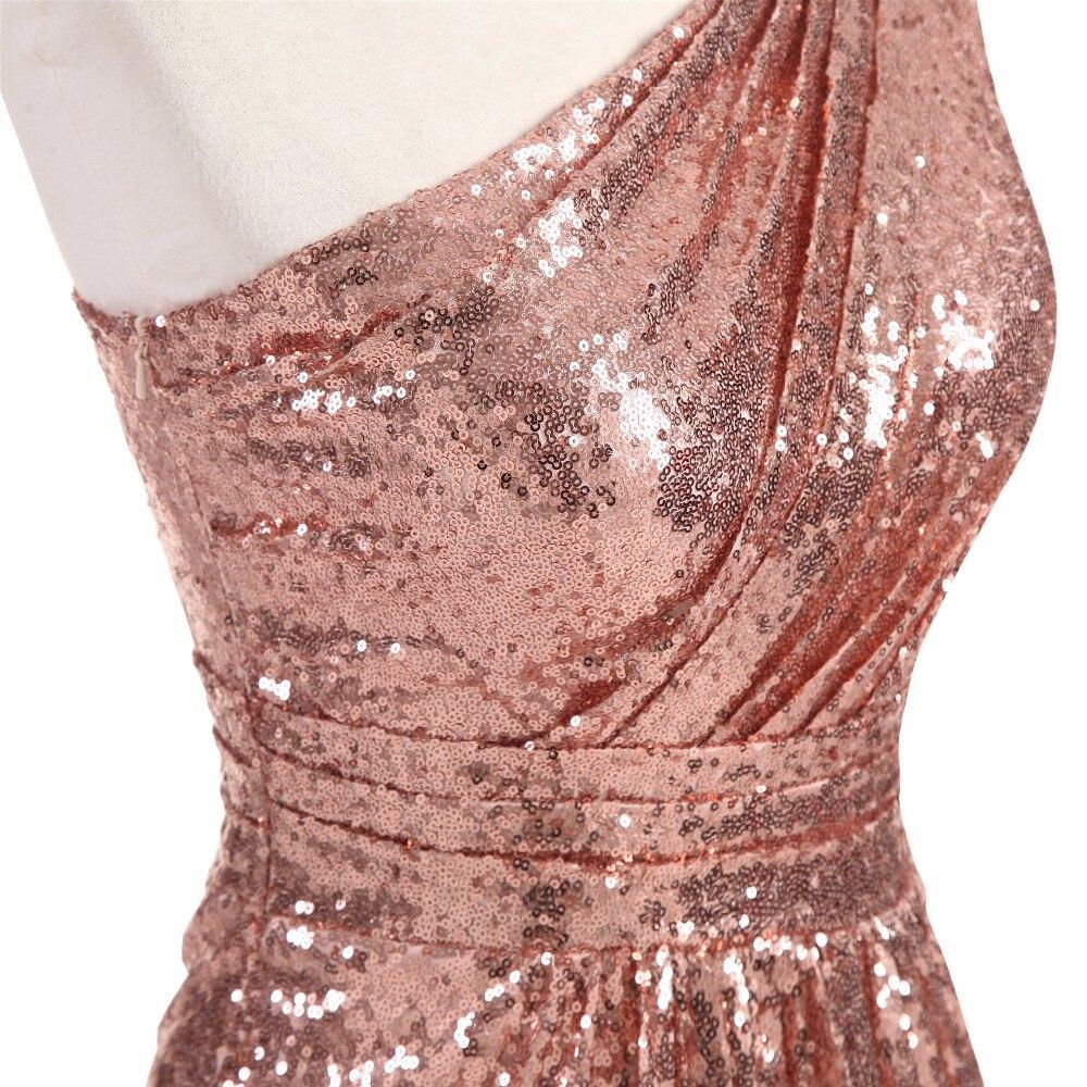 Sparkly Vestidos de dama de honor larga Lentejuelas 2018 oro rosa ...