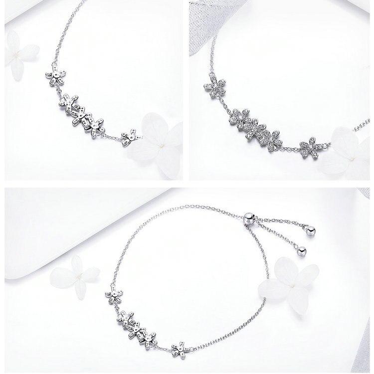 HTB1SntTASBYBeNjy0Feq6znmFXaO BAMOER Genuine 925 Sterling Silver Luminous Daisy Flower Women Bracelets Clear CZ Fashion Bracelet Jewelry Making Gift SCB084