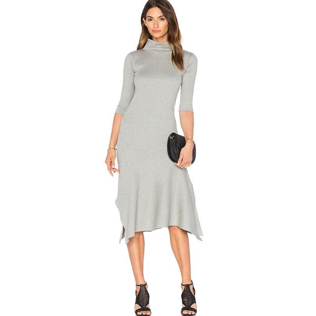 93b6c3505d990 3/4 sleeve high neck asymmetric dresses women autumn grey slit hem calf length  dress ladies turtleneck cotton midi work dresses