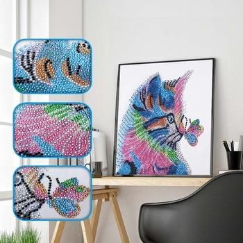 Forma especial pintura de diamante 5D DIY pintura punto de cruz gatos de diamante bordados mariposa jugando patrones de costura brillantes