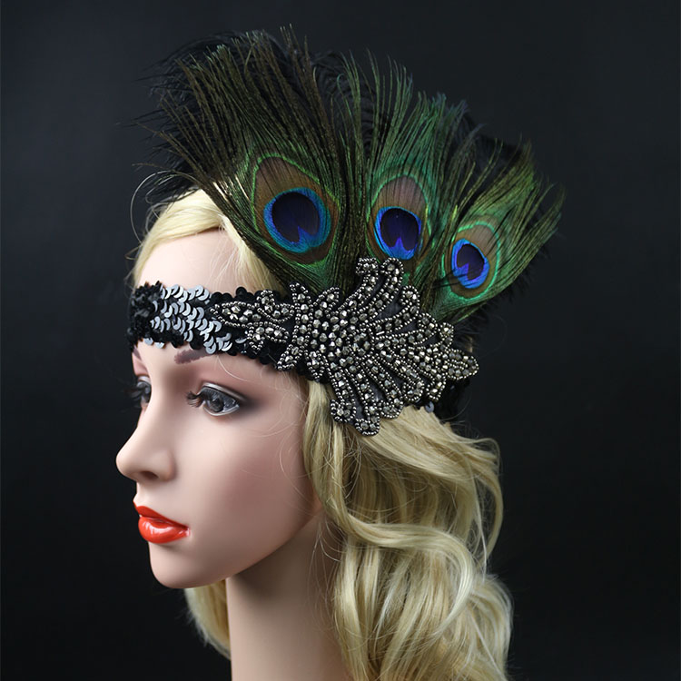 Womens Flapper Rhinestone Peacock Feather Headband 1920s Headpiece Vintage Sequined Hair Band Gatsby Party Hair Accessory gorros femininos