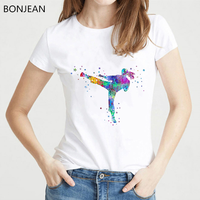 2019 New Women T Shirt Fashion Popular Style T-shirt Femme Watercolor Karate Fighter Girl Print Tshirt Female Streetwear Tops