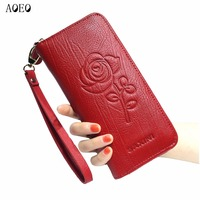 AOEO Wallet Women Leather Genuine Long Zipper Large Capacity 5 Color Black Red Flower Printing Purse