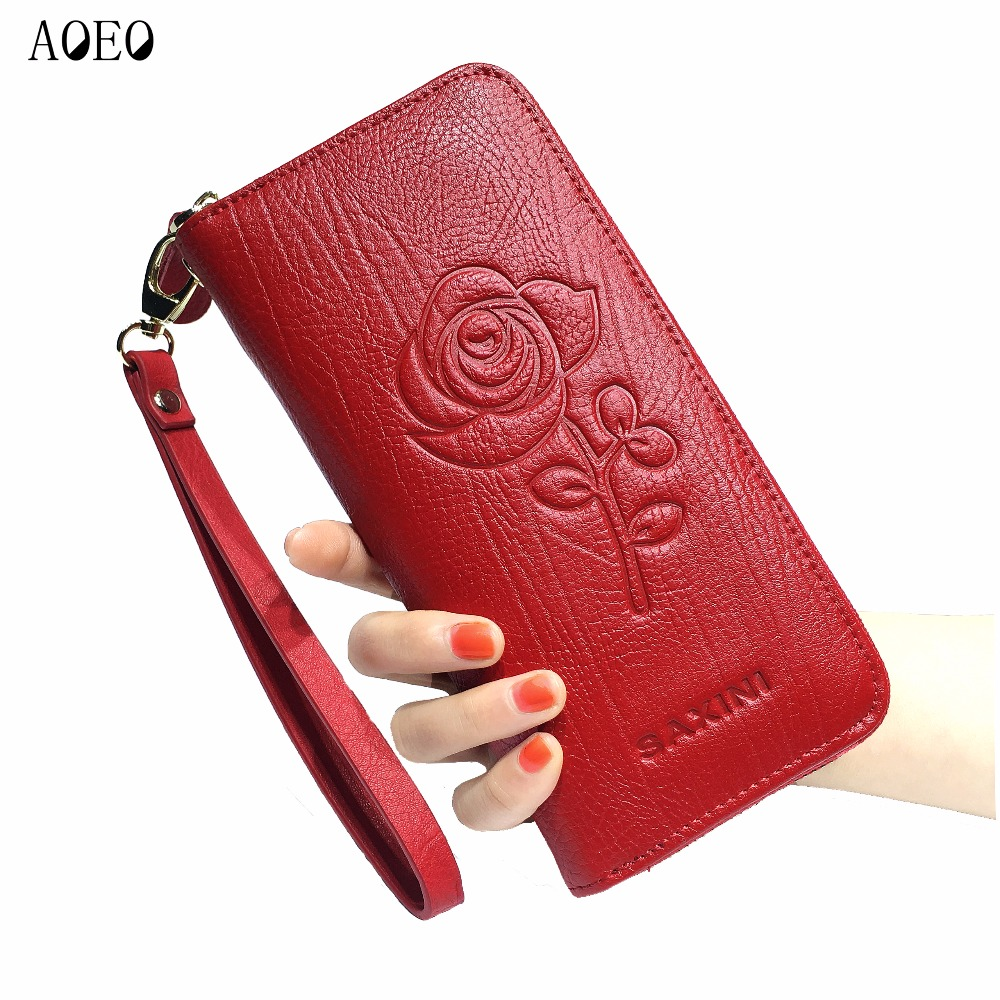 AOEO wallet women leather genuine Long Zipper large capacity 5 Color Black Red Flower Printing Purse Wristlet Wallets Female