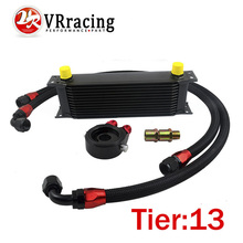 VR RACING-UNIVERSAL 13 ROWS OIL COOLER+OIL FILTER SANDWICH ADAPTER BLACK + SS NYLON STAINLESS STEEL BRAIDED AN10 HOSE