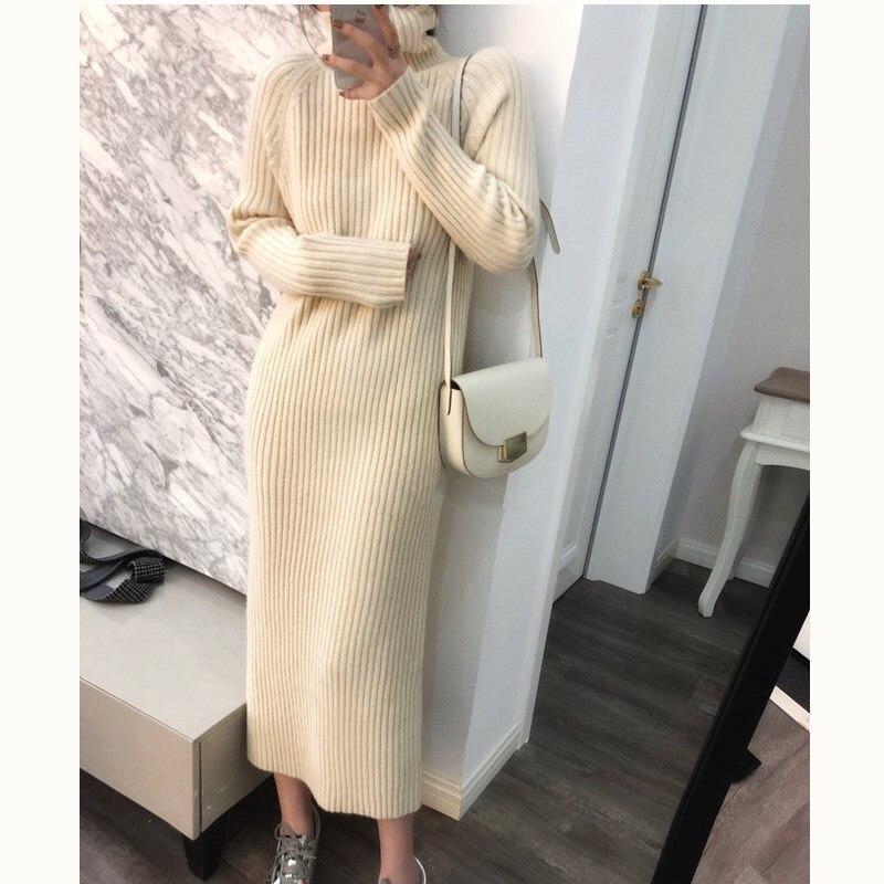 Femmes Robe col roulé à manches longues couleur unie décontracté cachemire robes dame Robe robes col haut hiver Long pull laine
