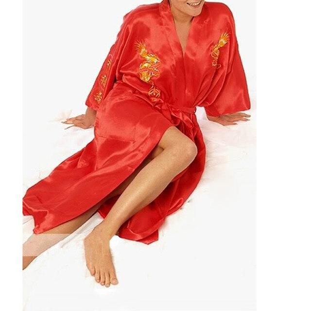 Fashion Red Chinese Women's Silk Satin Robe Embroidery Kimono Bath Gown Dragon S M L XL XXL XXXL  NS0068