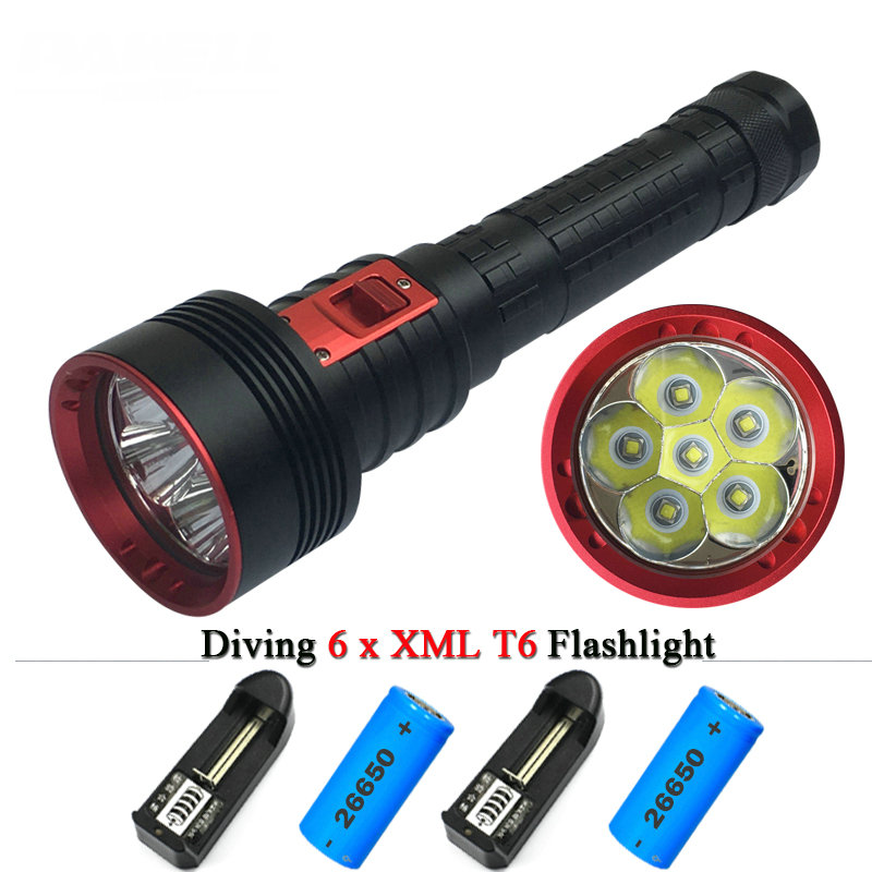 10000 lumens 6xL2 Powerful diving flashlight  LED torch CREE XM L2 26650 Rechargeable Battery x 2 Portable Underwater  lanterna 100m underwater diving flashlight led scuba flashlights light torch diver cree xm l2 use 18650 or 26650 rechargeable batteries