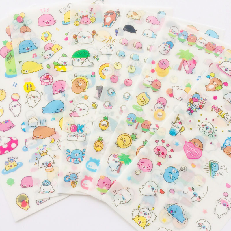 6 Sheets /Pack Kawaii Otter Adhesive DIY Decorative Stickers