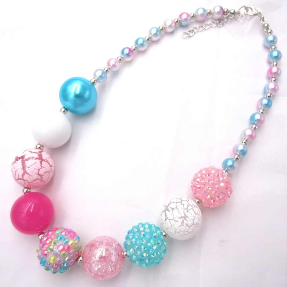 New arrival child chunky beads necklace colorful Toddler Girls Pearl bubblegum necklace handmade jewelry for kids toy gift 1pcs