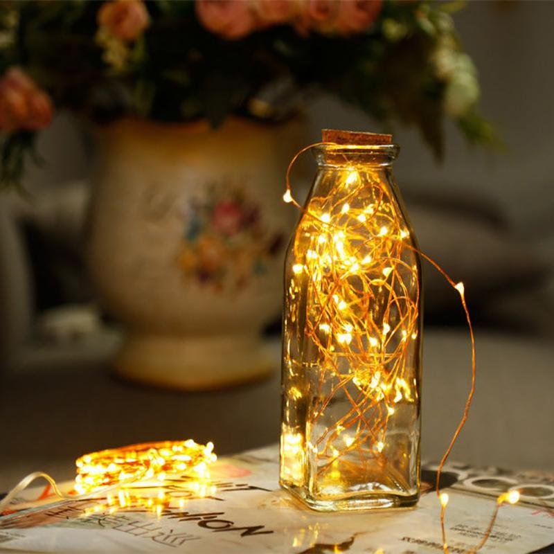 New 1M 2M Copper Wire LED String Lights Holiday Lighting Fairy Garland For Christmas Tree Wedding Party Decoration Holiday Child