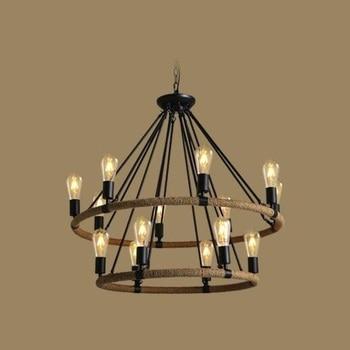 Amerikan Tarzı Loft Vintage Kolye aydınlatma armatürü Demir Rrtro Lamba Kolye Işıkları Yatak Odası Cafe Bar Restoran Kenevir Halat Lampara
