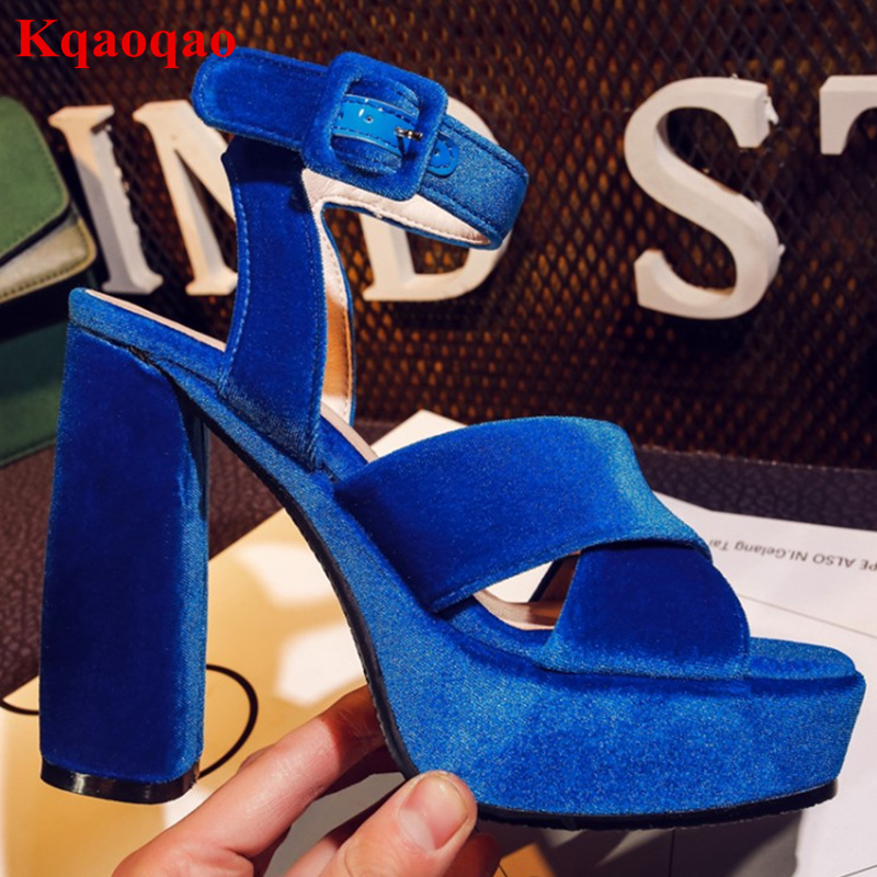 Brand Designer Chaussure Wedges Gladiator Escarpins Zapatos Mujer Platform Shoes Women Sandals Flock Shoes Open Toe High Heel plus size 34 44 summer shoes woman platform sandals women rhinestone casual open toe gladiator wedges women zapatos mujer shoes