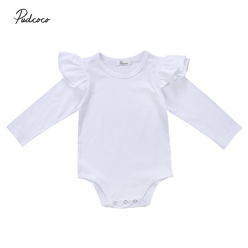 Pudcoco Newborn Infant Baby Ruffle Rompers Long Sleeve Jumpsuit Playsuit Cotton Autumn Winter Baby Clohtes One-Piece Outfit newborn baby rompers baby clothing 100% cotton infant jumpsuit ropa bebe long sleeve girl boys rompers costumes baby romper