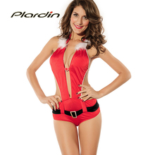 Plardin 2016 New Winter Sleeveless Hater Stage With Christmas Festival Costumes Deep V-Neck Sleeveless Party Red Mini Jumpsuits